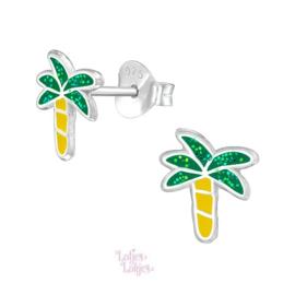 Zilveren kinderoorbellen palmboom glitter