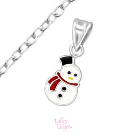 Zilveren kinderketting sneeuwpop
