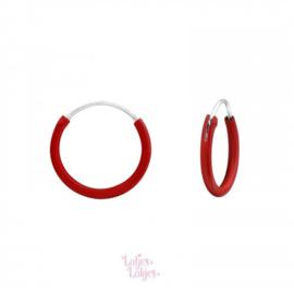 Zilveren kinderoorbellen creolen rood