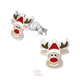 Zilveren kinderoorbellen Rudolf met kerstmuts