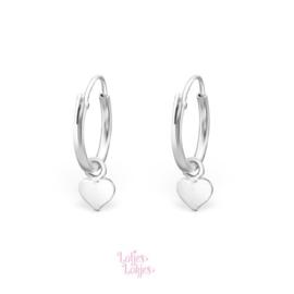 Zilveren kinderoorbellen creolen met hartje | zilver