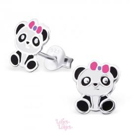 Zilveren kinderoorbellen panda met roze strikje