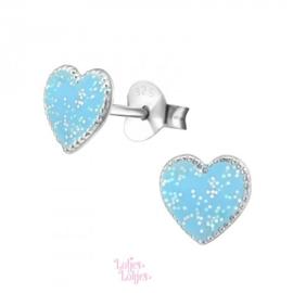 Zilveren kinderoorbellen hartje blauw