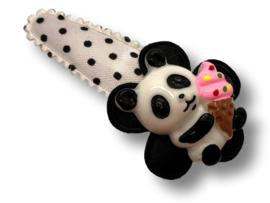 Haarspeldje wit-zwart met panda