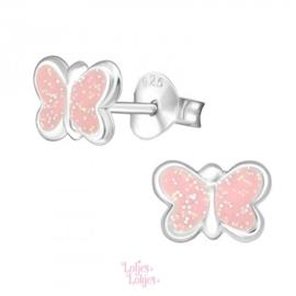 Zilveren kinderoorbellen vlinder pastel roze