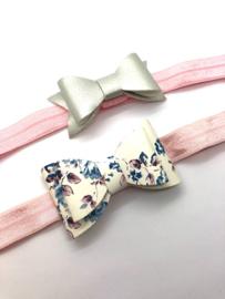 Baby- haarbandjes met leder-look strik (set van 2)