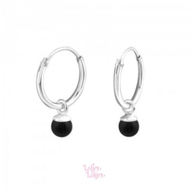 Zilveren kinderoorbellen creolen met parel zwart