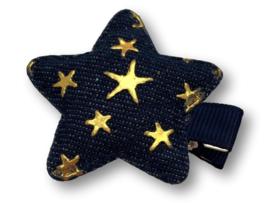 Haarlokspeldje ster denim donkerblauw met sterretjes goud