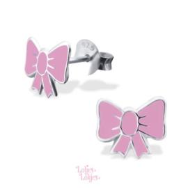 Zilveren kinderoorbellen roze strikje