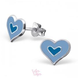 Zilveren kinderoorbellen hartje lichtblauw-blauw