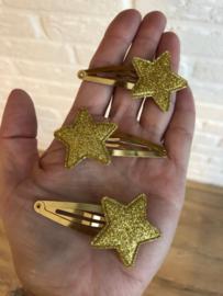 Haarspeldje met ster goud-goud