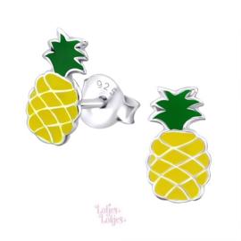 Zilveren kinderoorbellen ananas