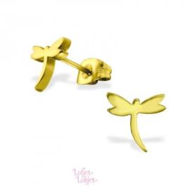 Kinderoorbellen chirurgisch staal libelle | goud
