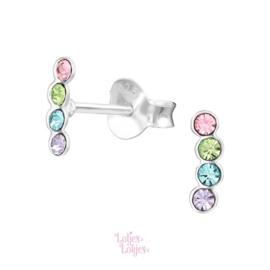 Zilveren kinderoorbellen pastel | kristal