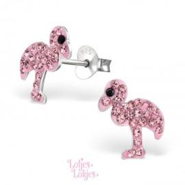 Zilveren kinderoorbellen flamingo roze | kristal
