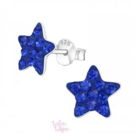 Zilveren kinderoorbellen ster felblauw | kristal