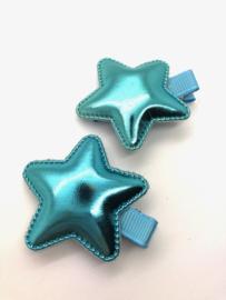 Haarlokspeldje ster blauw (per stuk)