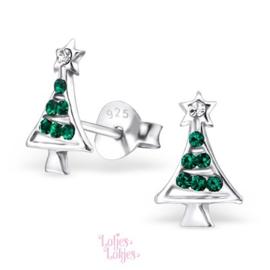 Zilveren kinderoorbellen kerstboom | kristal