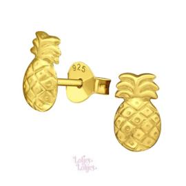 Zilveren kinderoorbellen ananas | gold plated