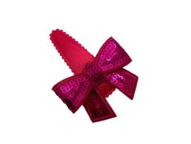 Haarspeldje roze met glitterstrik felroze