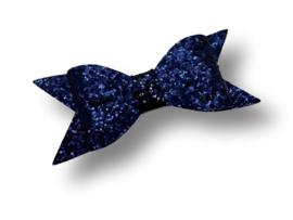 Glitter haarstrik donkerblauw XL | 10 cm