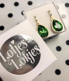 Creolen goud met hanger crystal | smaragd-groen