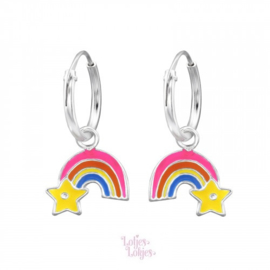 Zilveren kinderoorbellen creolen met regenboog ster