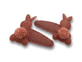 Haarspeldjes rib oudroze met konijntjes