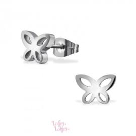 Kinderoorbellen chirurgisch staal vlindertje | zilver