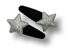 Haarspeldjes zwart met ster zilver