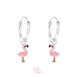 Zilveren kinderoorbellen creolen met flamingo