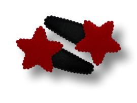 Haarspeldjes zwart met ster rood