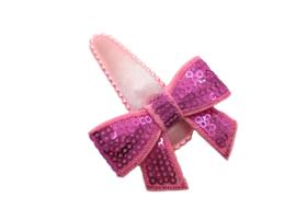 Haarspeldje lichtroze met glitterstrik roze