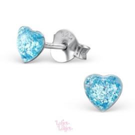 Zilveren kinderoorbellen hartje blauw glitter