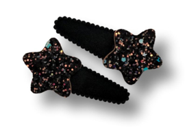 Haarspeldjes zwart met ster glitter