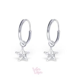 Zilveren kinderoorbellen creolen met ster | kristal