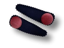 Haarspeldjes donkerblauw met button oudroze