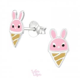 Zilveren kinderoorbellen konijn ijsje