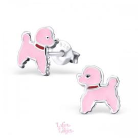 Zilveren kinderoorbellen hondje roze