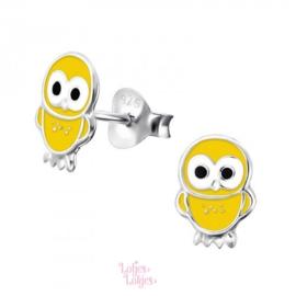 Zilveren kinderoorbellen uil geel