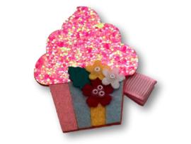 Haarlokspeldje lichtroze met cupcake roze glitter