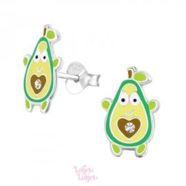 Zilveren kinderoorbellen vrolijke avocado