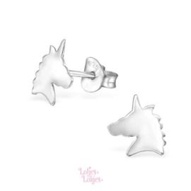 Zilveren kinderoorbellen eenhoorn | zilver