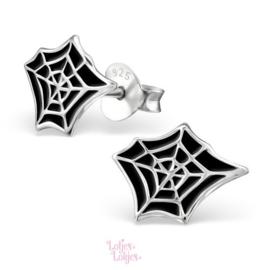 Zilveren kinderoorbellen spinnenweb