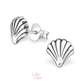 Zilveren kinderoorbellen schelp | zilver