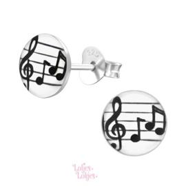 Zilveren kinderoorbellen muzieknoten (rond)