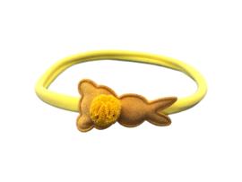 Nylon haarbandje met konijntje geel