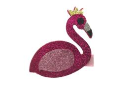 Haarlokspeldje lichtroze met flamingo glitter