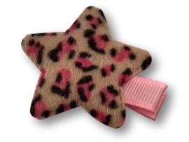 Haarlokspeldje ster panter wit-roze