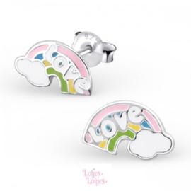 Zilveren kinderoorbellen regenboog love